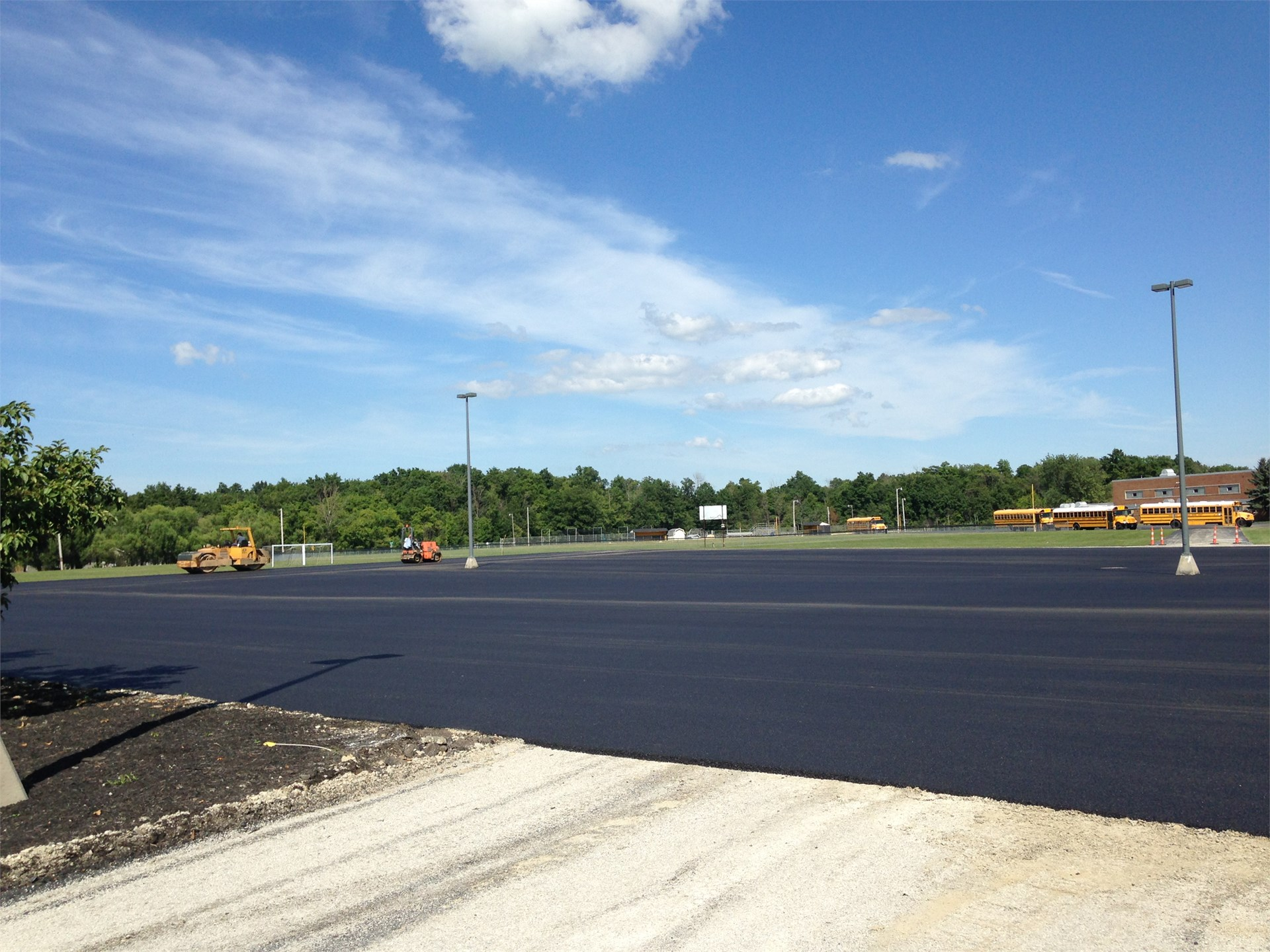 Parking lot after asphalt application