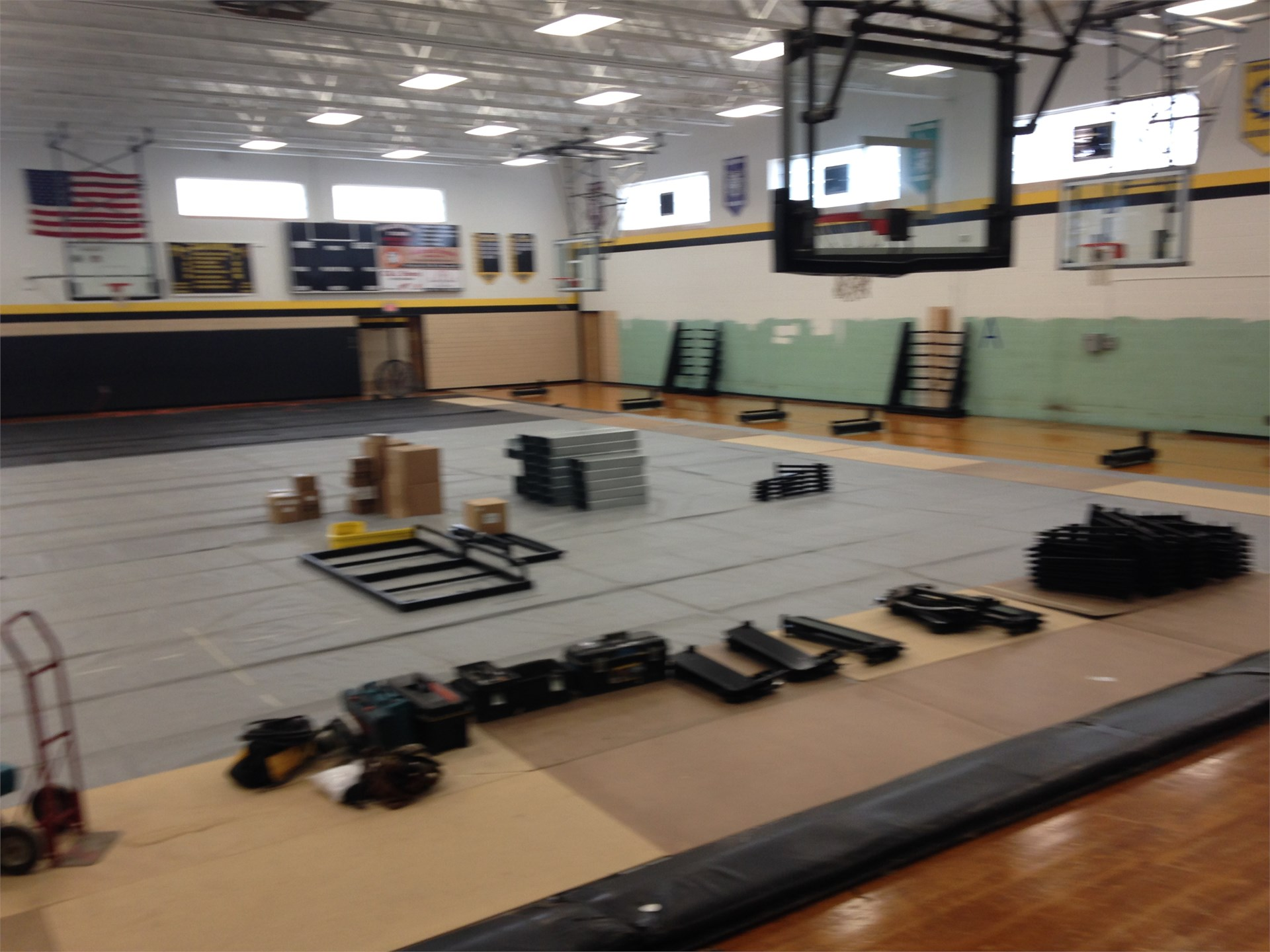 Bleacher parts being placed