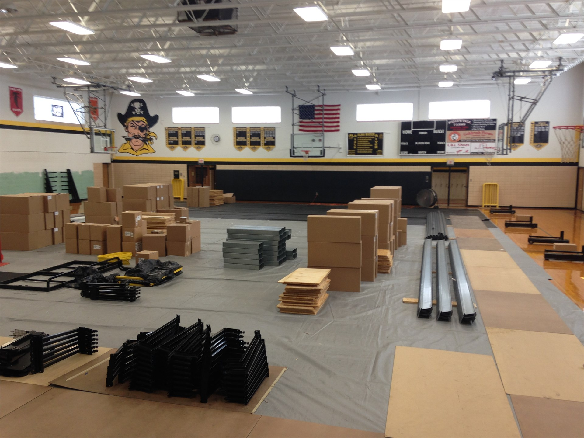 Bleacher parts as installation is progressing