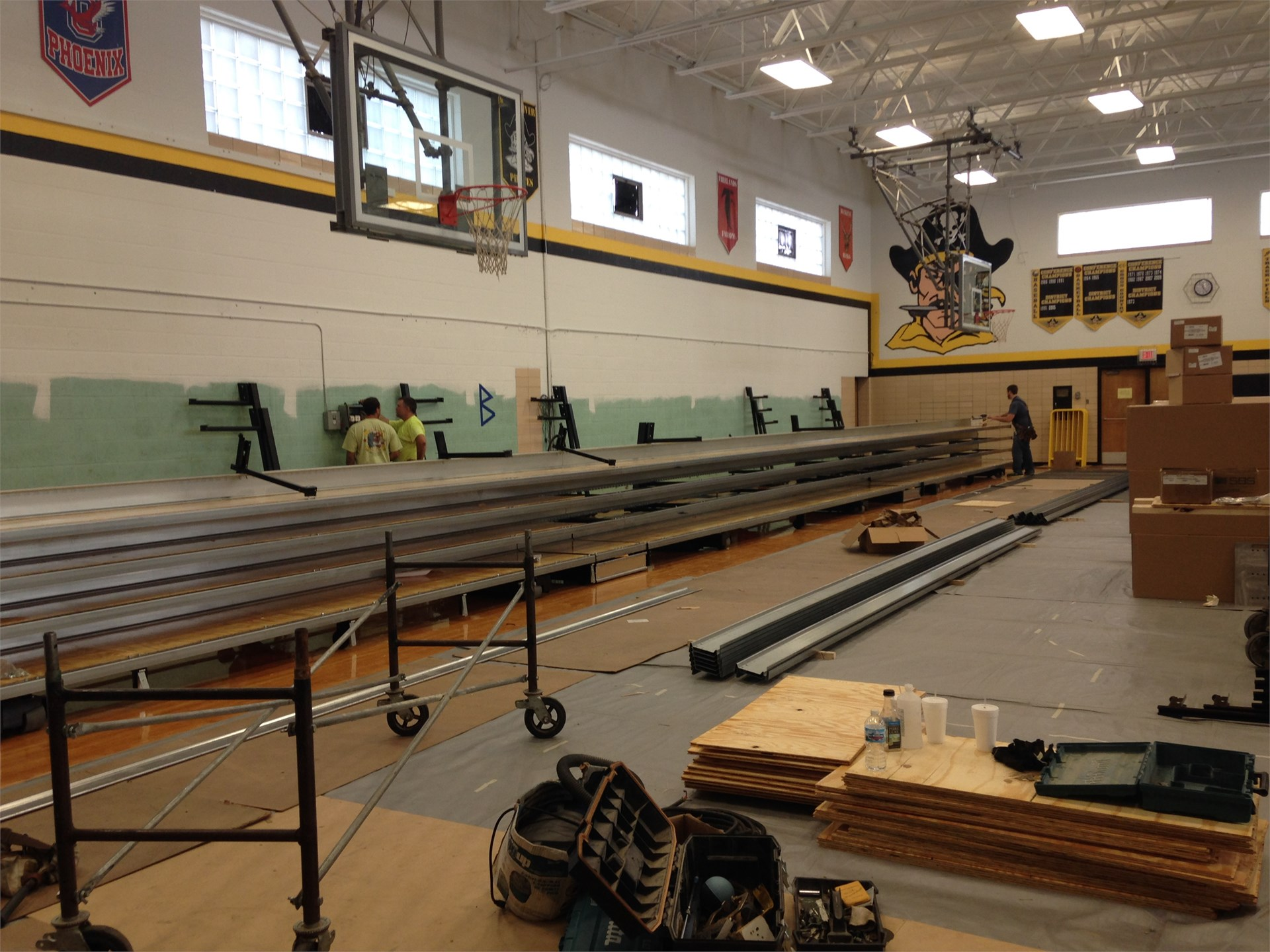 Assembly of visitor bleachers