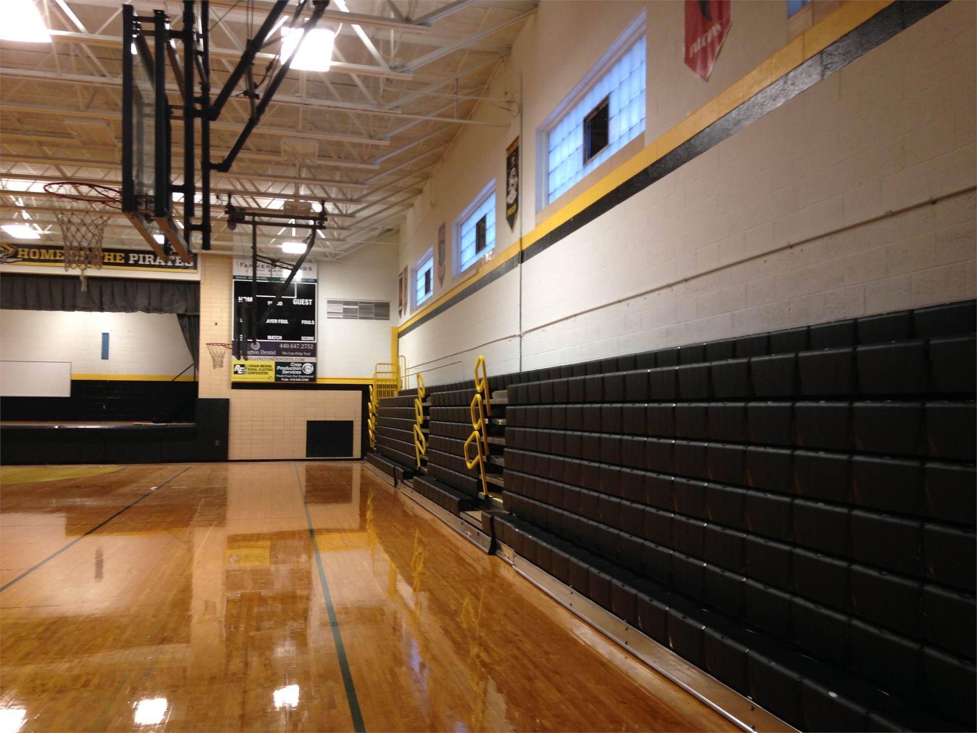 Visitor side bleachers retracted