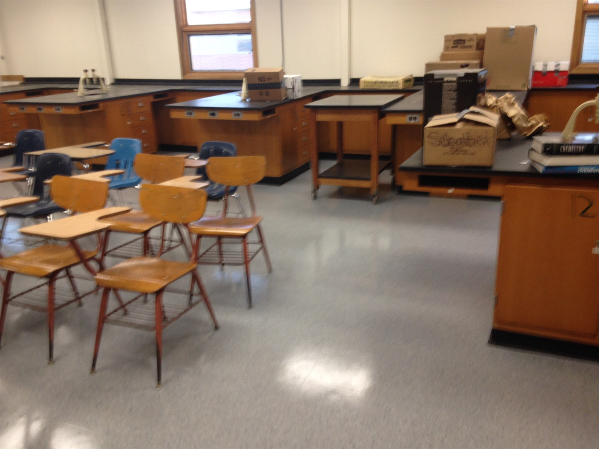 Chemistry room with new floors