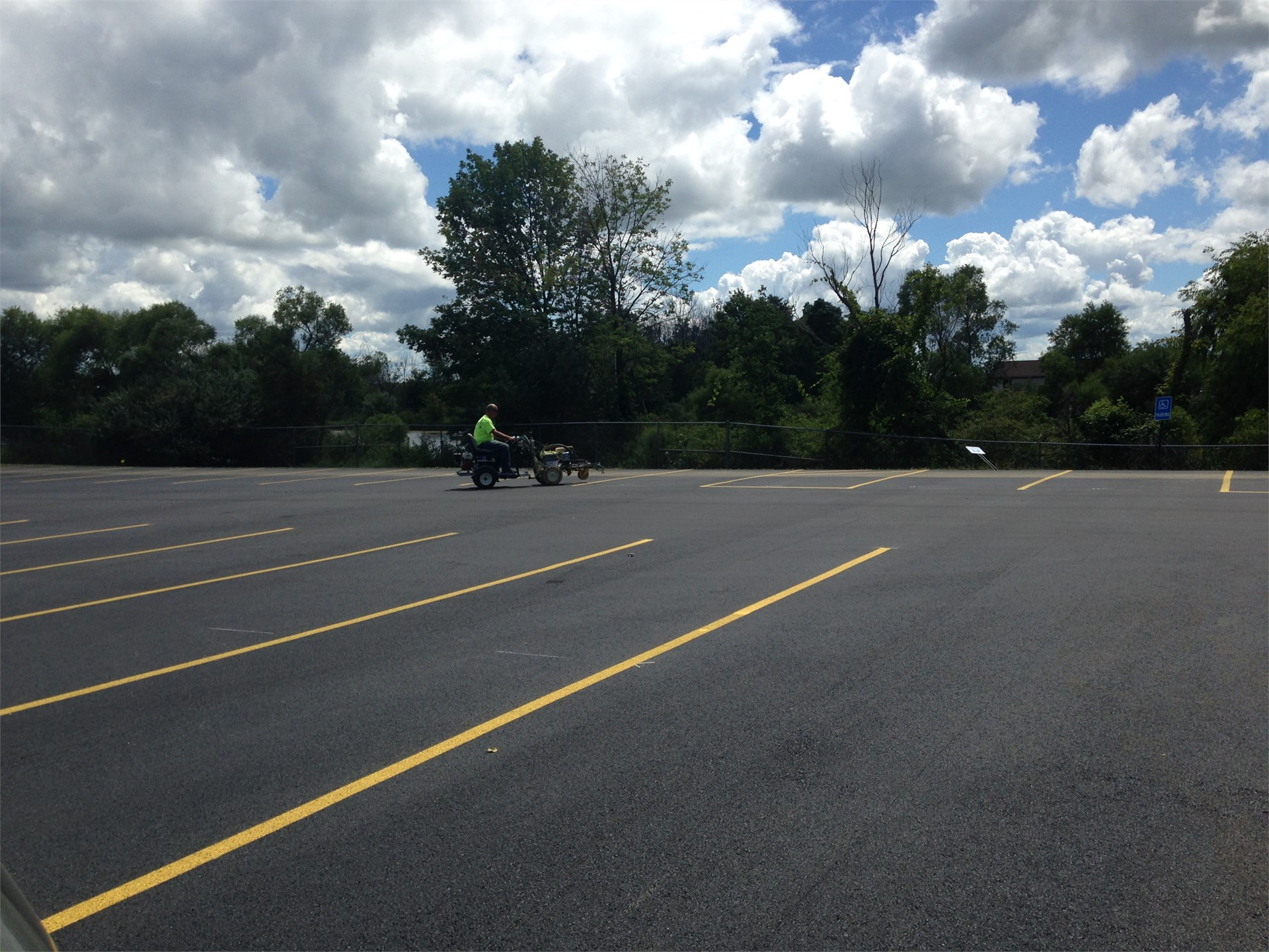 Striping the parking lot
