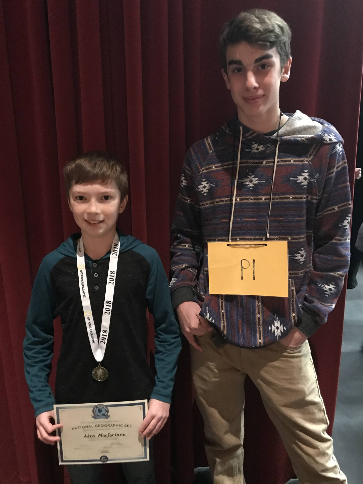 Congratulations to Aden Macfarleane....2017 GeoBee Champion and Caleb Elkevizth....Runner-Up!