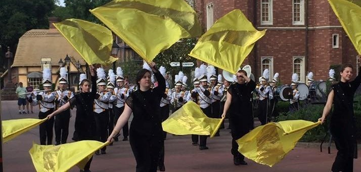 the marching band behind some students waving yellow flags