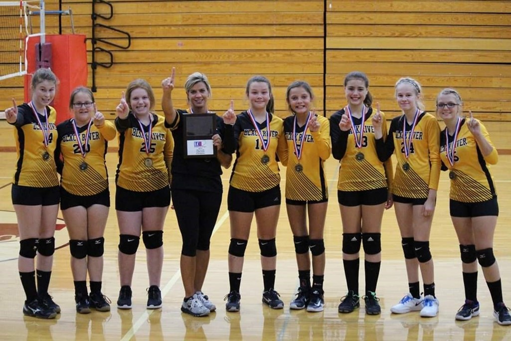 Black River Middle School Volleyball 7th Grade LC8 Undefeated Champions.