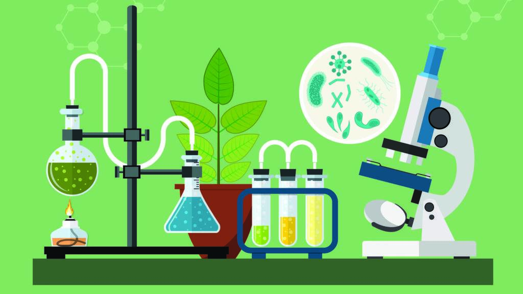 Image of science equipment on a table top with a green background. Flasks are shown with green and b